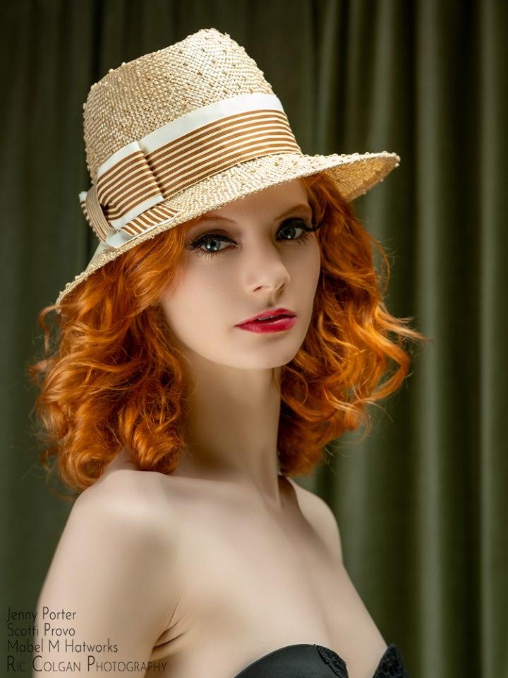 Michale's Knotted Sisal Stripe Bow Fedora on Jenny 2.jpg