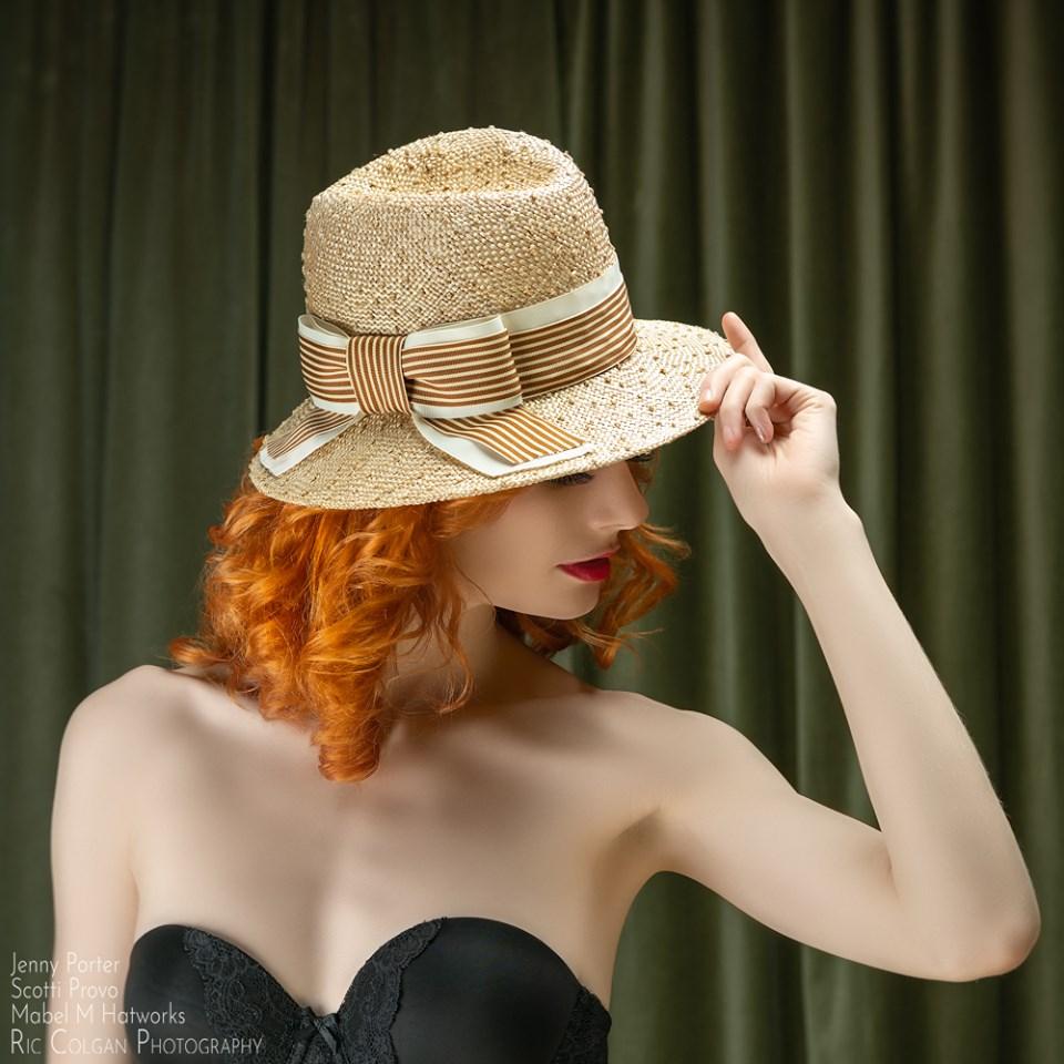 Michale's Knotted Sisal Stripe Bow Fedora on Jenny.jpg
