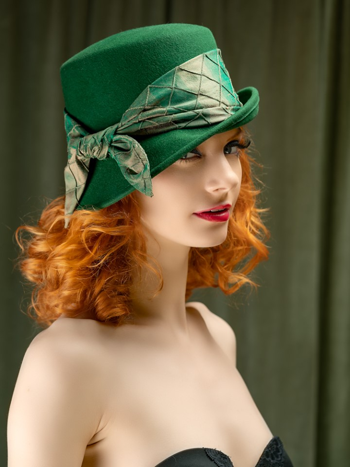 Michale's Bottle Green Asymetric Brim Fur Felt 2.jpg