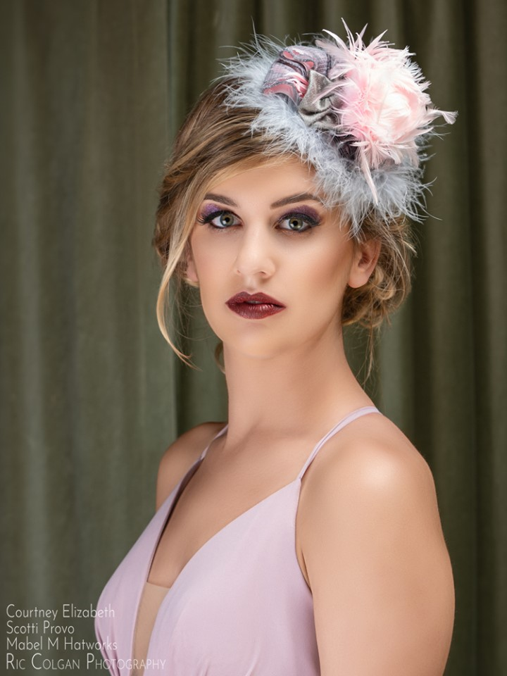 Michale's Grey Velvet and Pink Feather Figure Eight 2.jpg