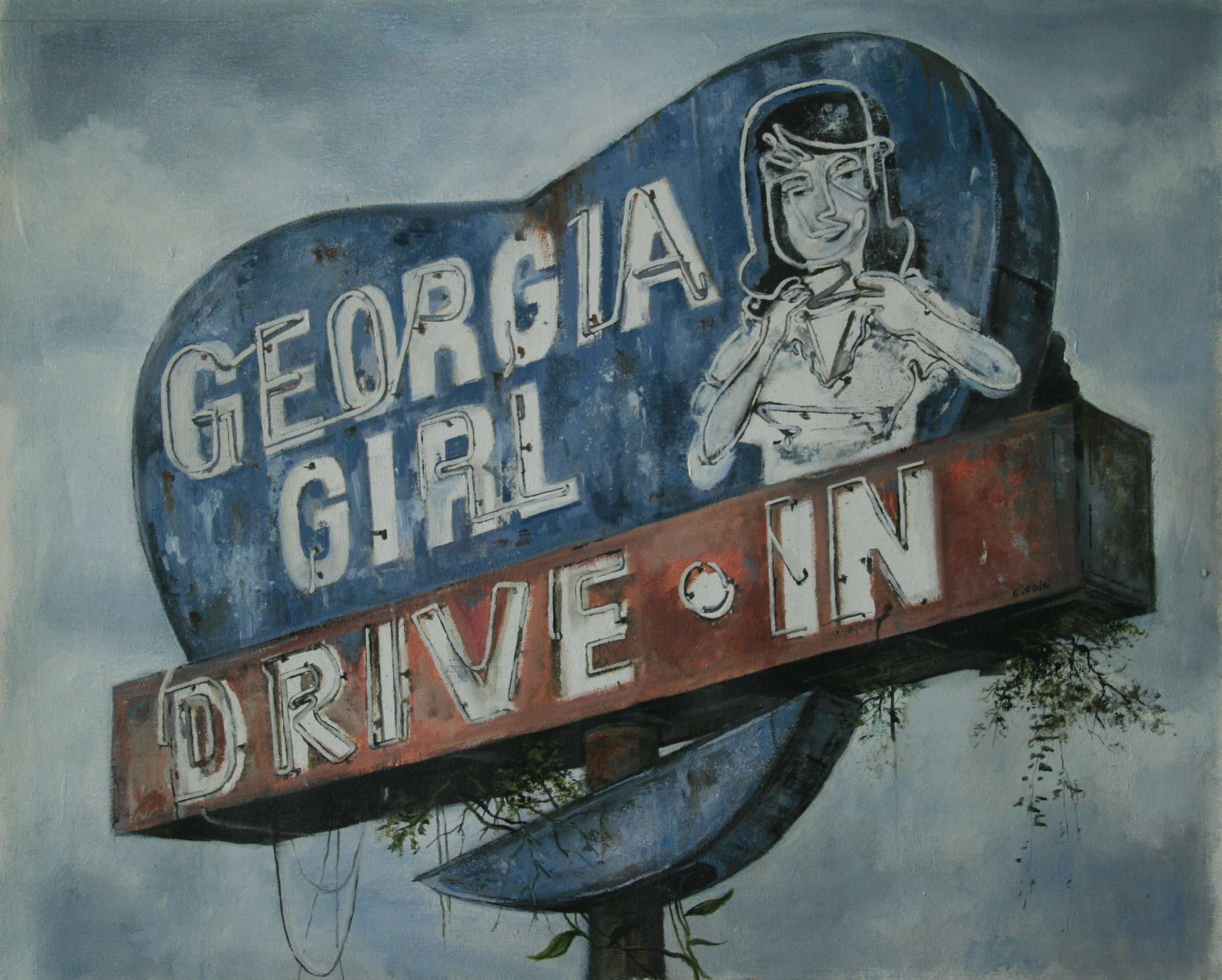 "Georgia Girl Drive-In   Oil on Canvas  22"" X 28""  Available"