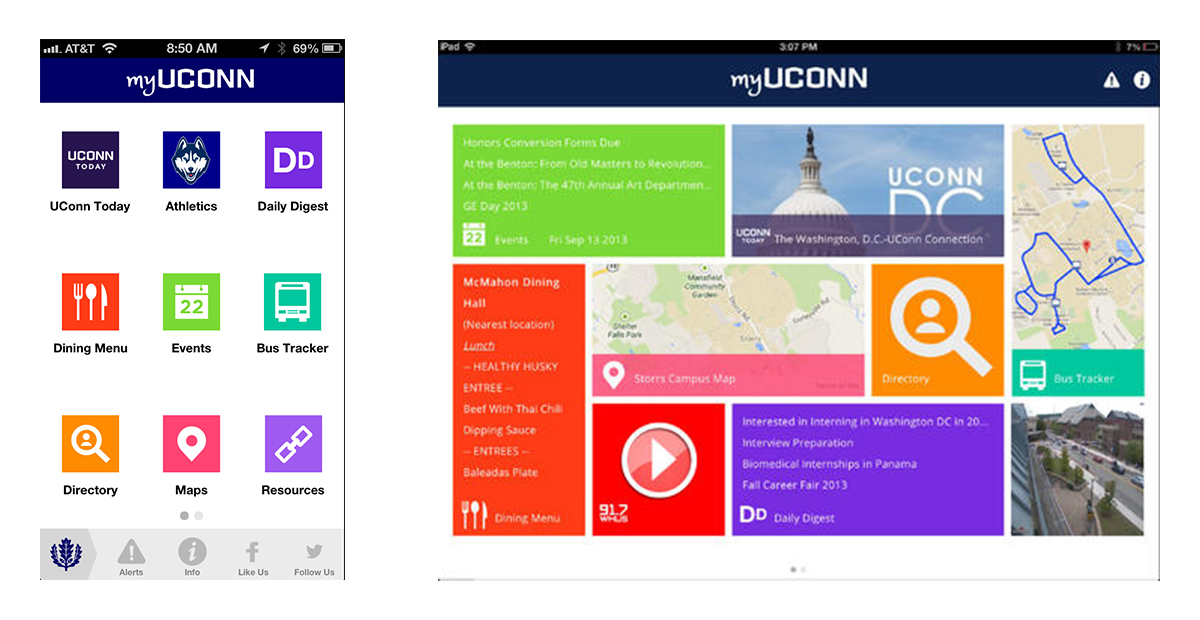 Initially created as a mobile application MyUConn soon there was a demand for a tablet option.