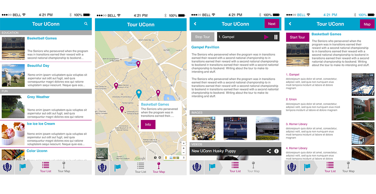 A in depth digital tour of the University of Connecticut. It included audio information about buildings and points of interest. User can select from different tours, some user created.