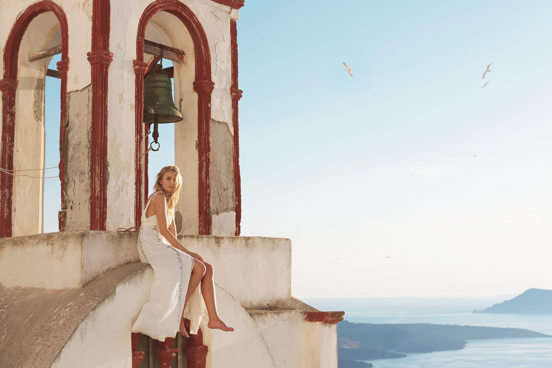Tracy Kristine in Santorini Greece by Naomi Christie