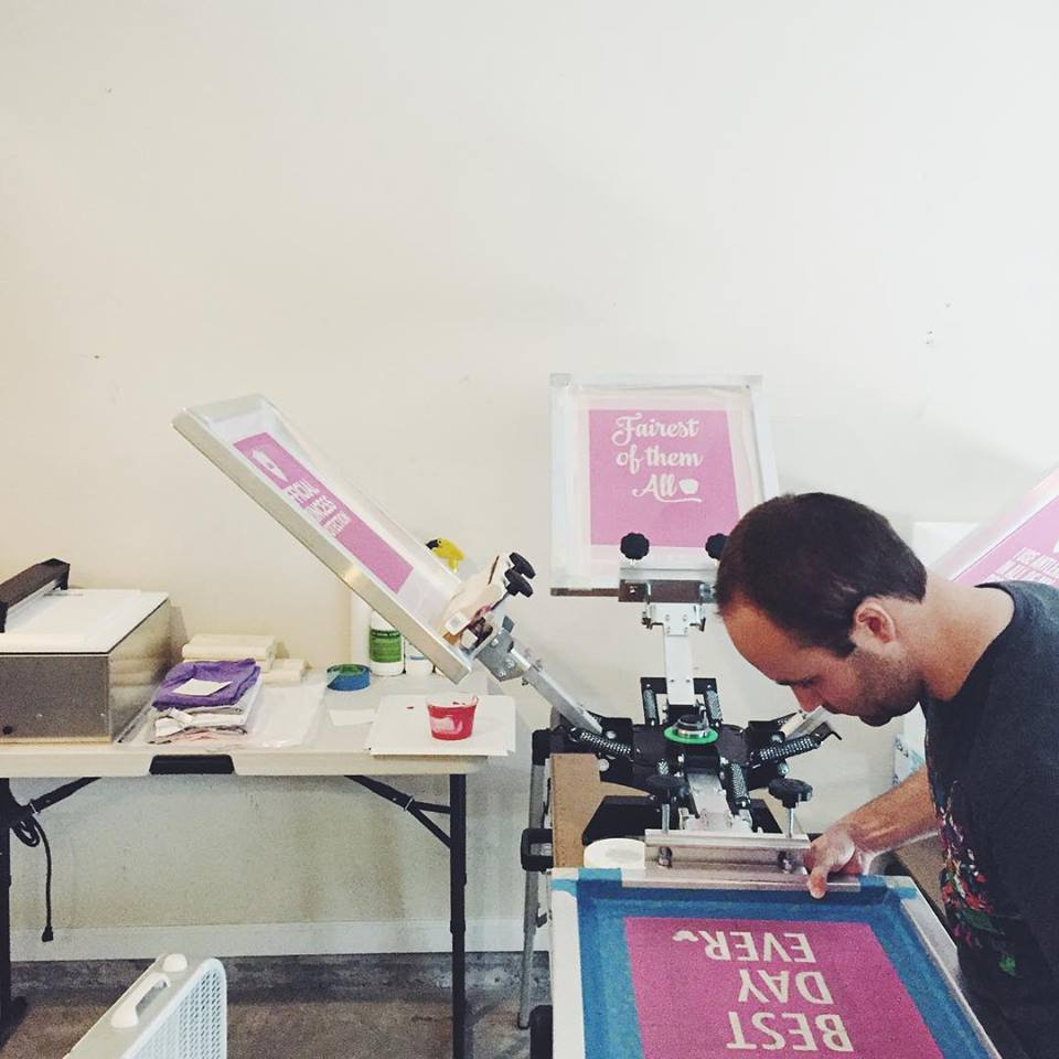 Screen print shop