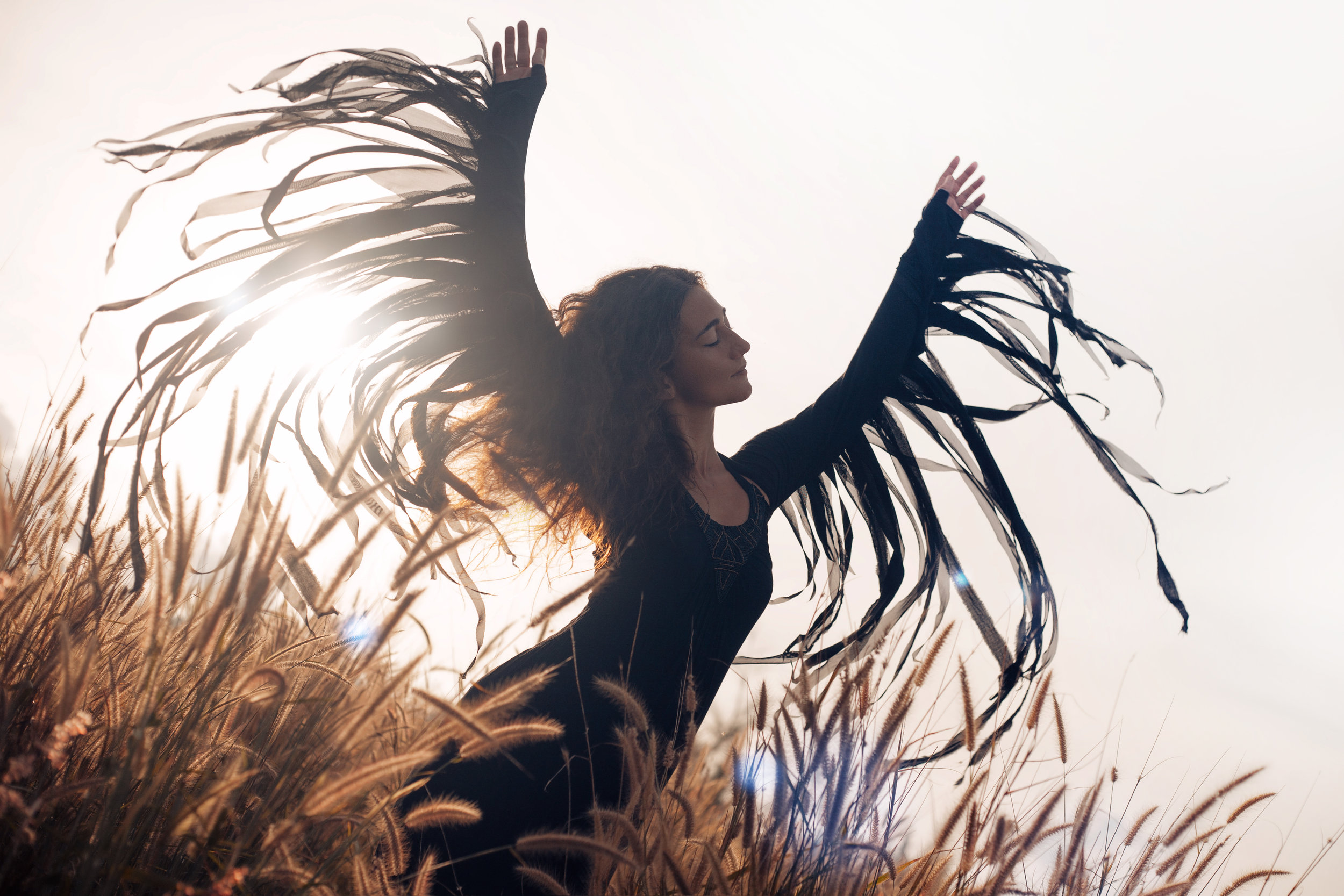 She is wings open -