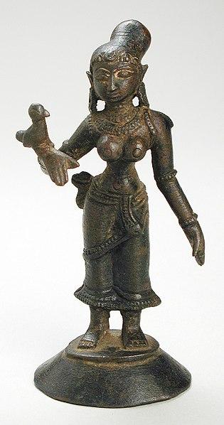 Tamil poet-Saint, Andal . 14thc scuplture.  Publc Domain Image .