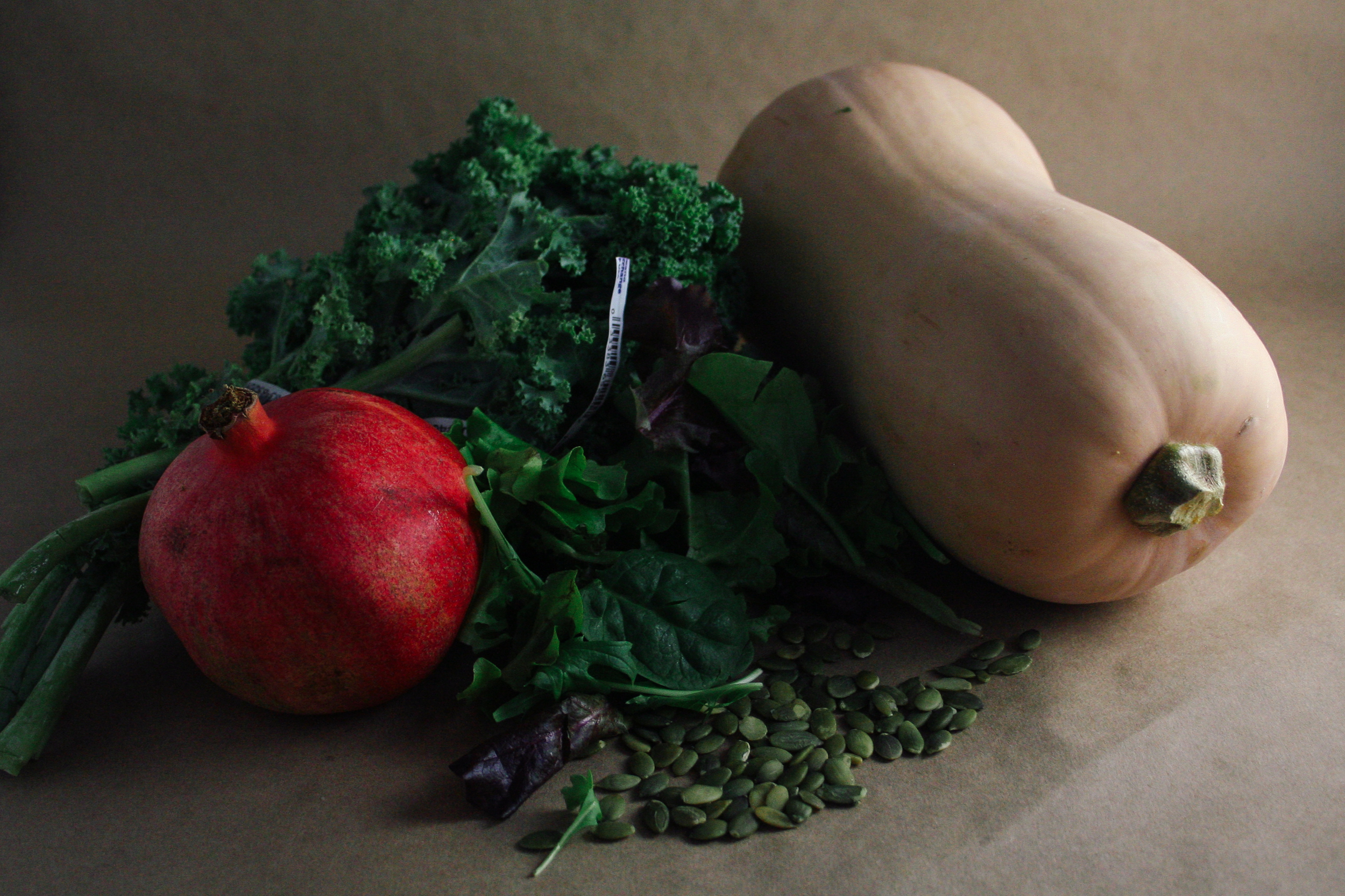 Butternut squash, pumpkin seeds, kale, pomegranate