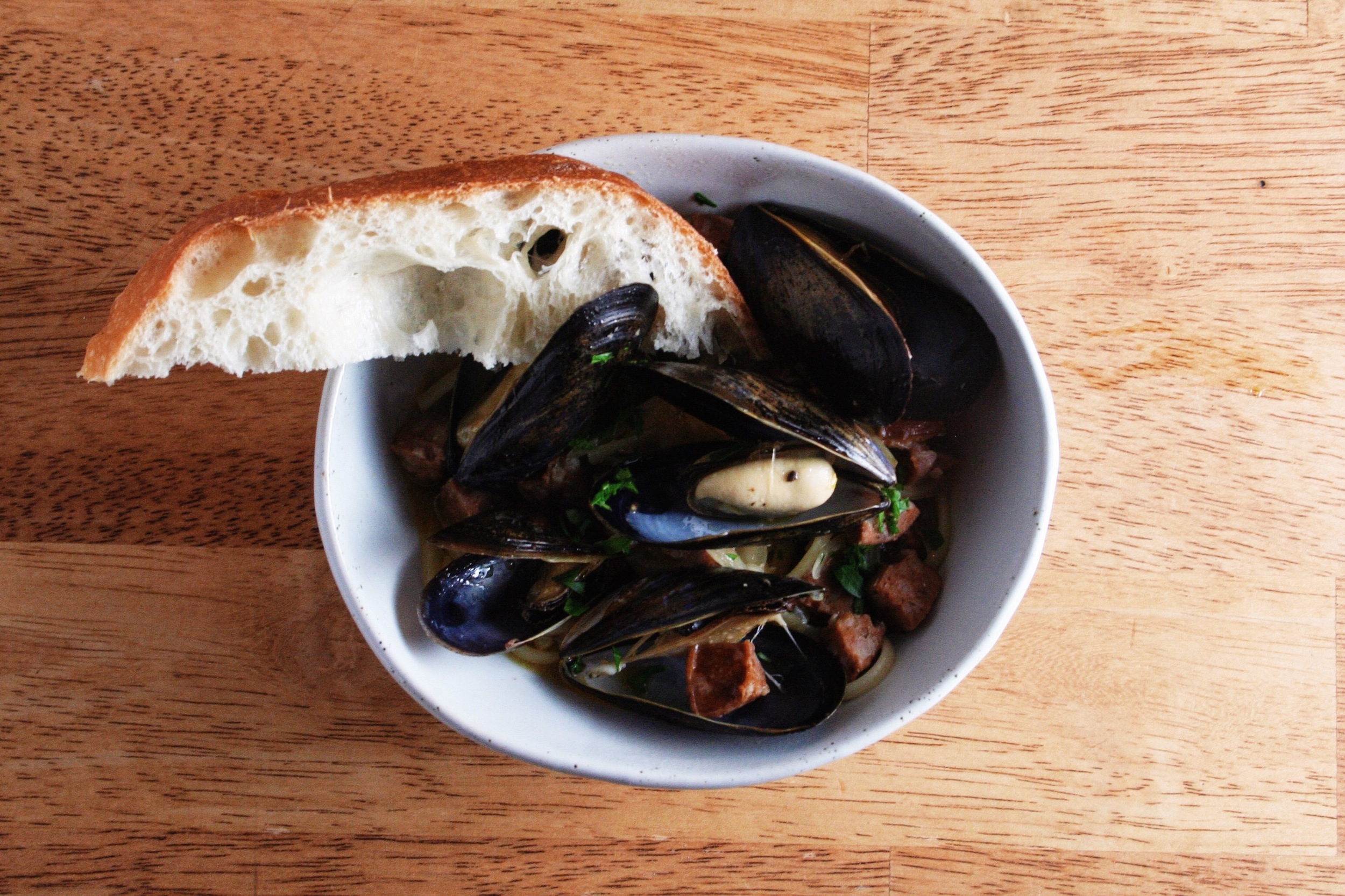 Linguine, mussels, chorizo, beer broth