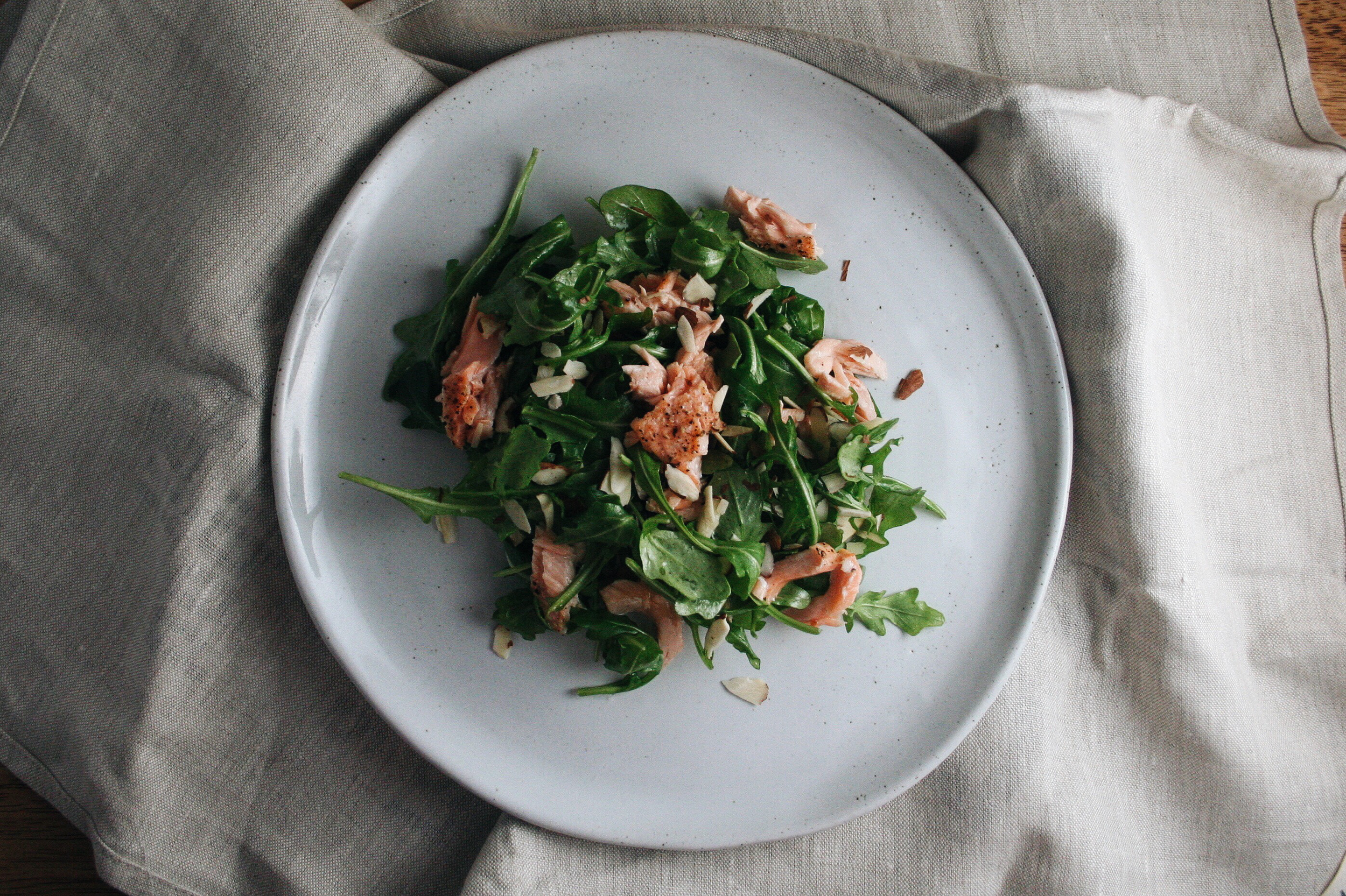 The City Skillet | Simple Salad with Salmon, Arugula, Almonds, and April Bloomfield's Dressing