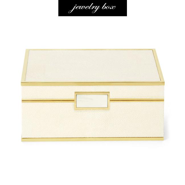 Aerin Shagreen and Brass Jewelry Box
