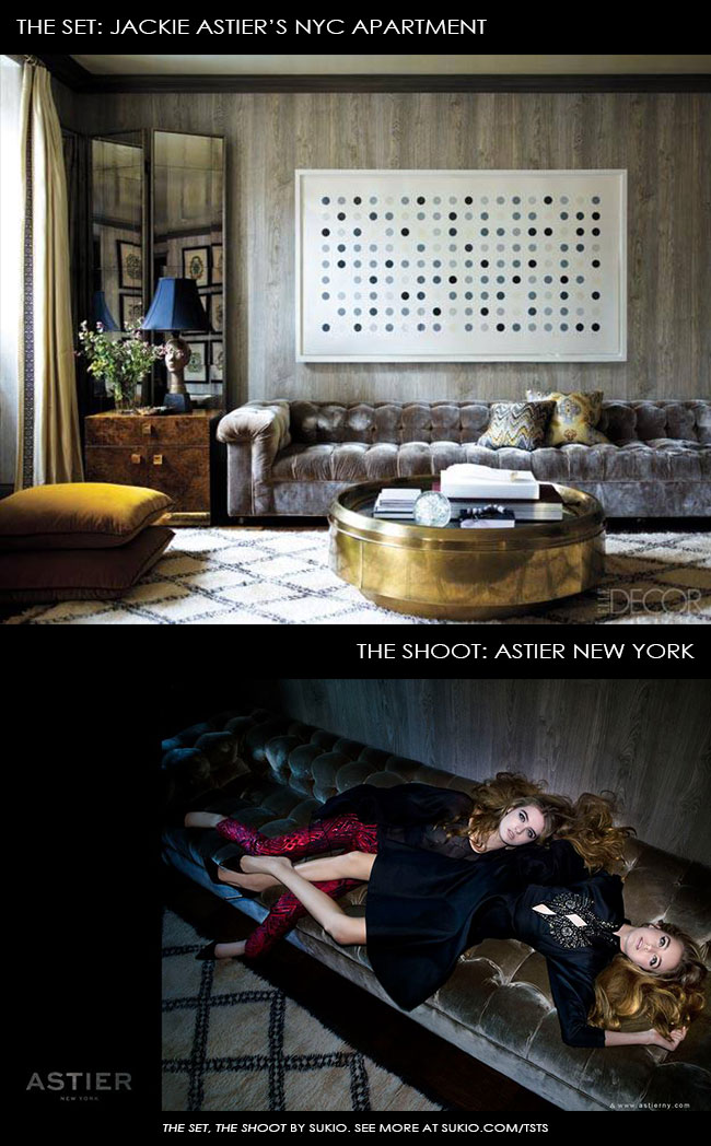 Jackie Astier's library becomes a luxe backdrop for her RTW ad campaign #TheSetTheShoot