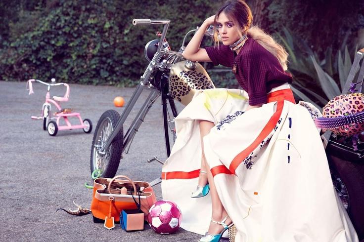 Derek Lam top and Carolina Herrera skirt with Fendi heels, Jessica Alba Covers February Instyle Magazine