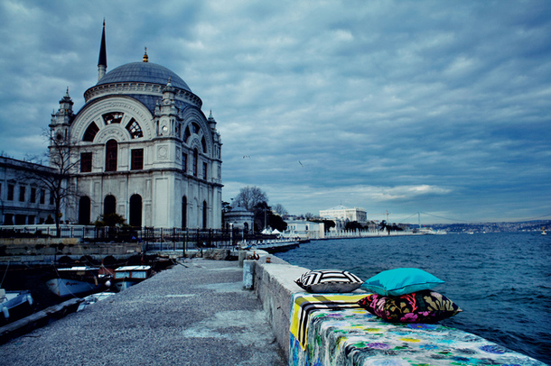 Oriental fabrics photographed on the streets of Istanbul, AD Russis