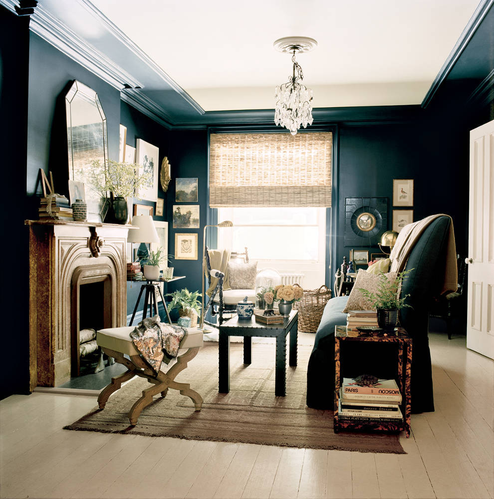 A dark and glamorous sitting room styled by Kim Ficaro, Domino Magazine