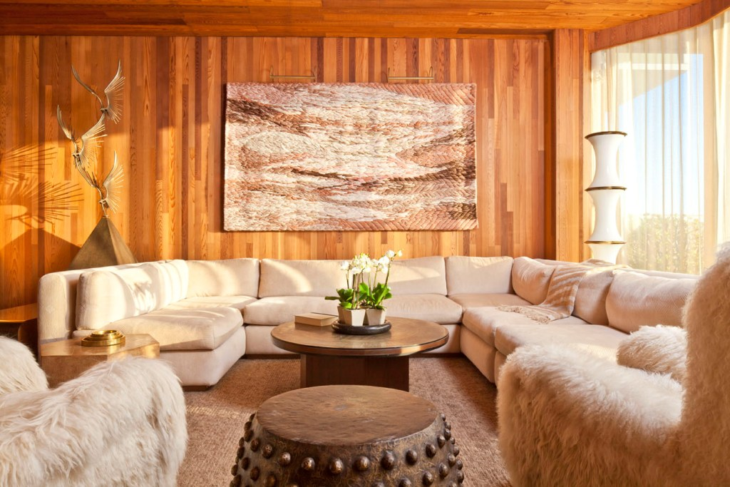 Newly commissioned Sheila Hicks wall tapestry grounds a tranquil sitting room.