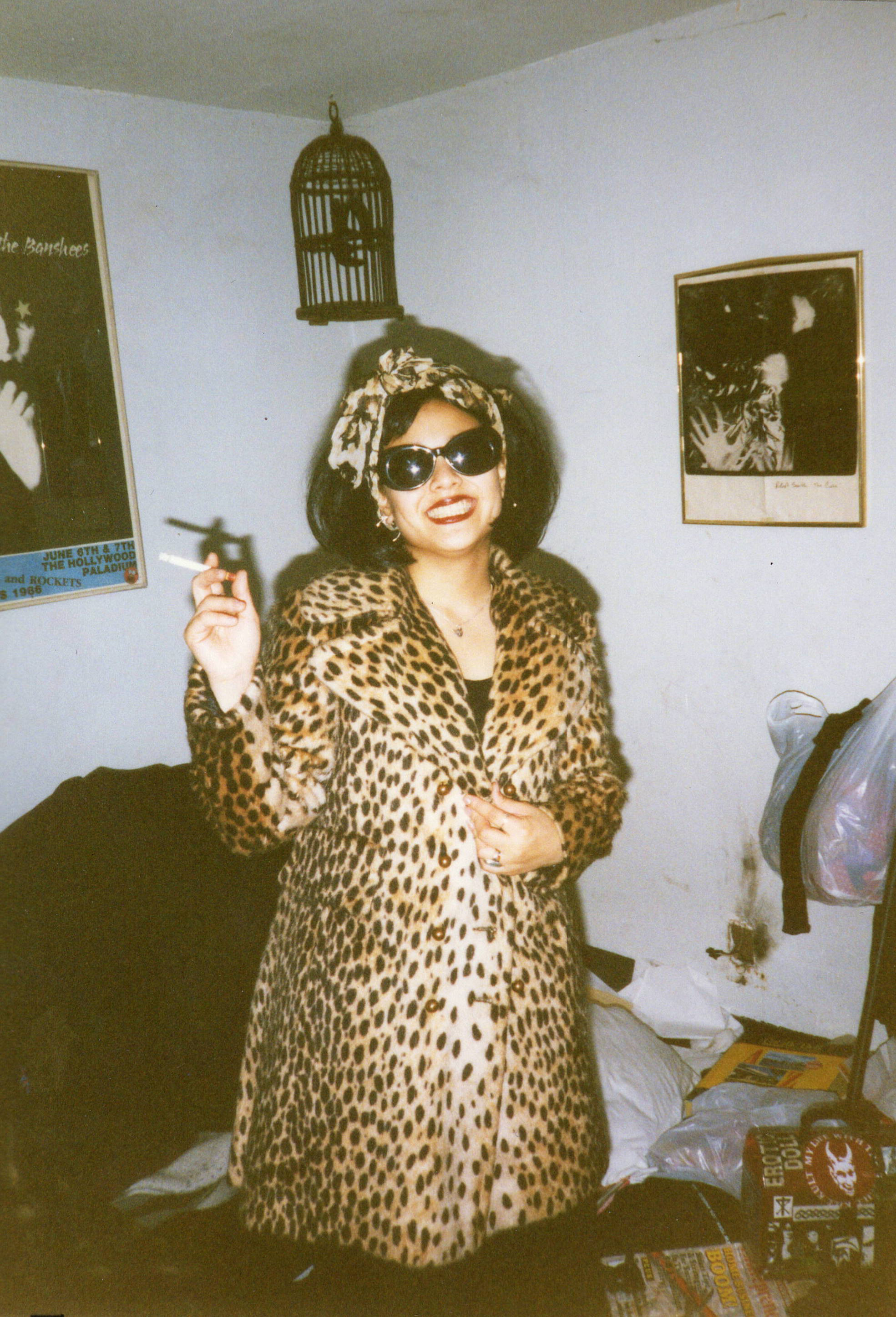 1996_Michelle in Wig and Leopard Coat.JPG