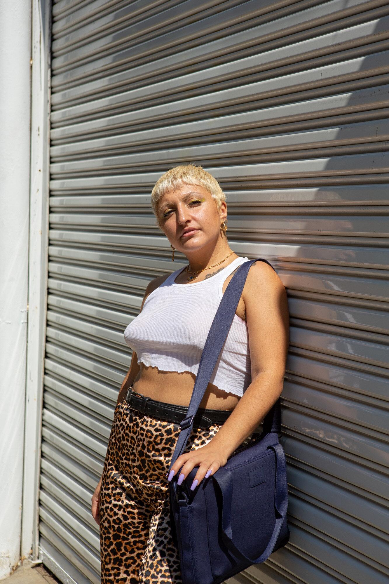 Model Yasmin Almokhamad with the Dagne Dover Ryan Laptop Bag