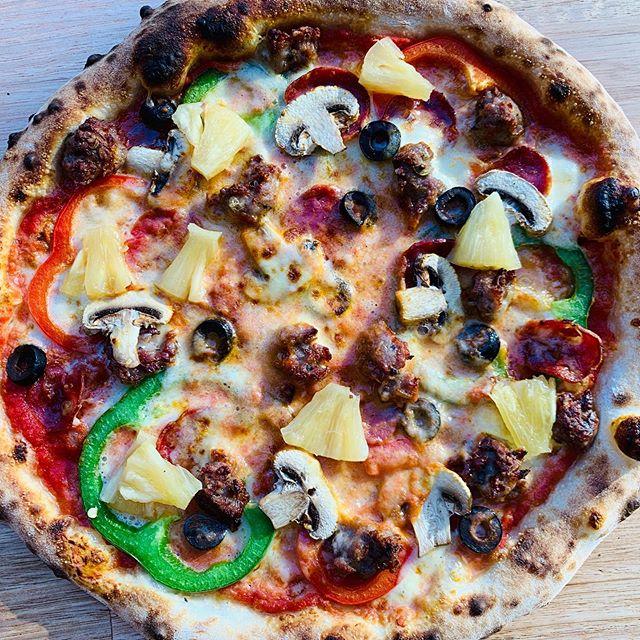 OG Supreme 😎 🤘🏽$23 Red base, salami, sausage, peppers mushrooms, olives, pineapple, oregano, lp cheese blend