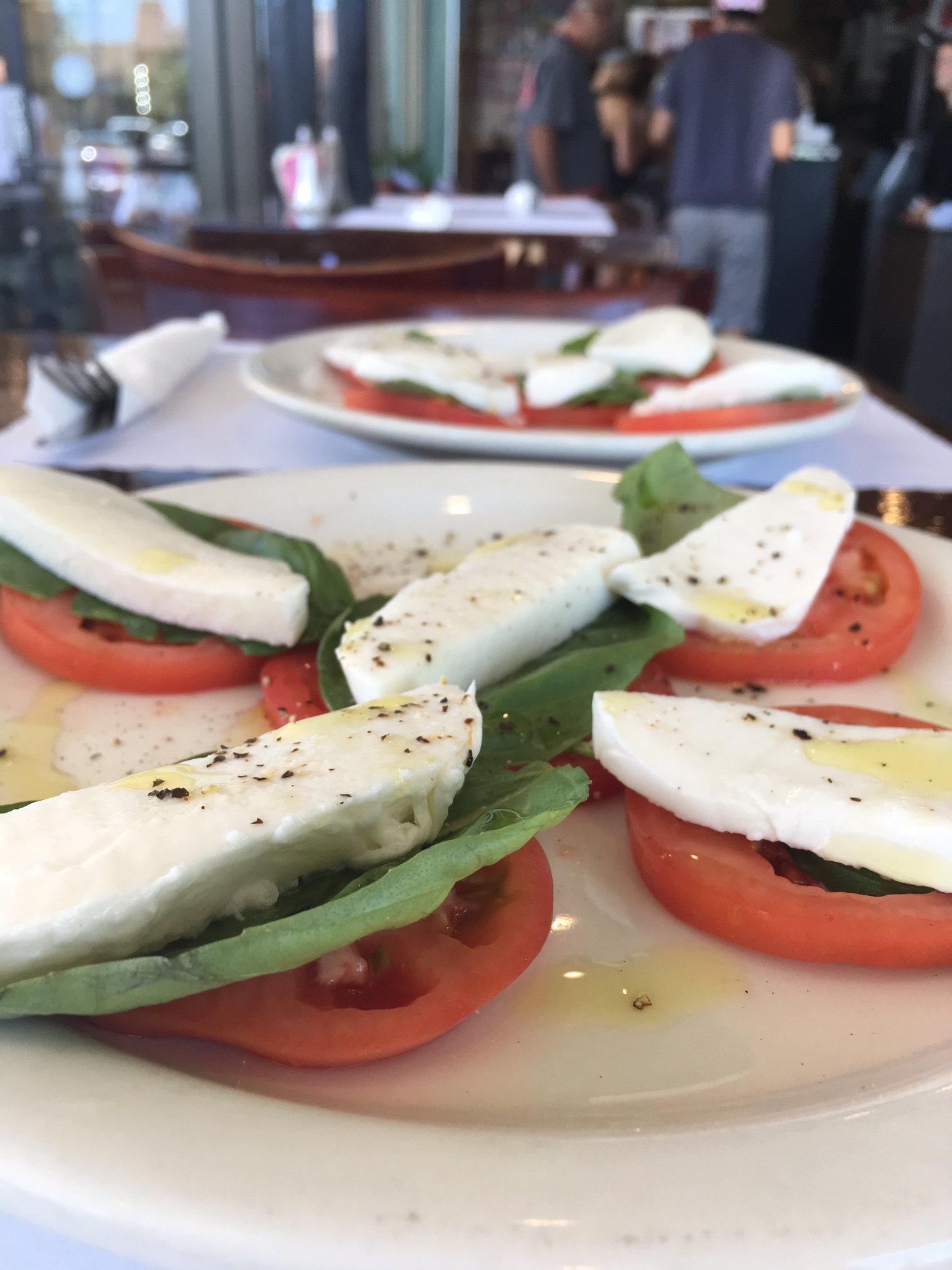 Mediterranean Caprese - Fresh Tomatoes, Basil & Mozzarella with Olive Oil & Balsamic
