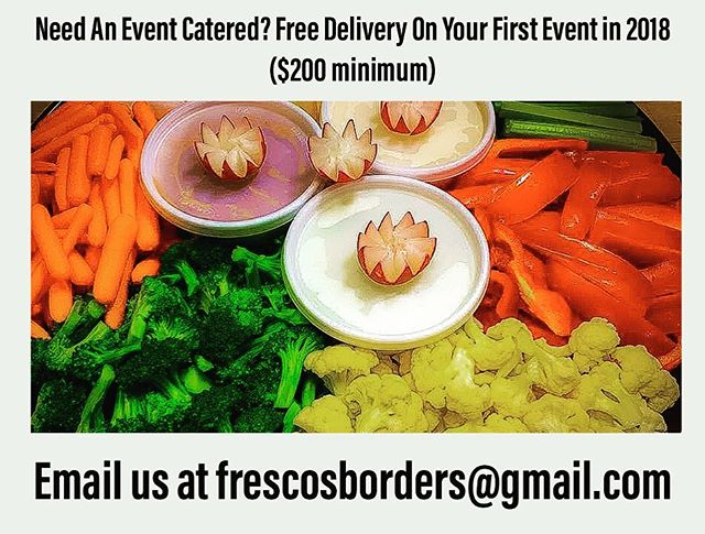 Free Delivery!  Book Your Next Event with Us Today!  #frescocafe #freedelivery #welcome2018 #catering #chooselocal