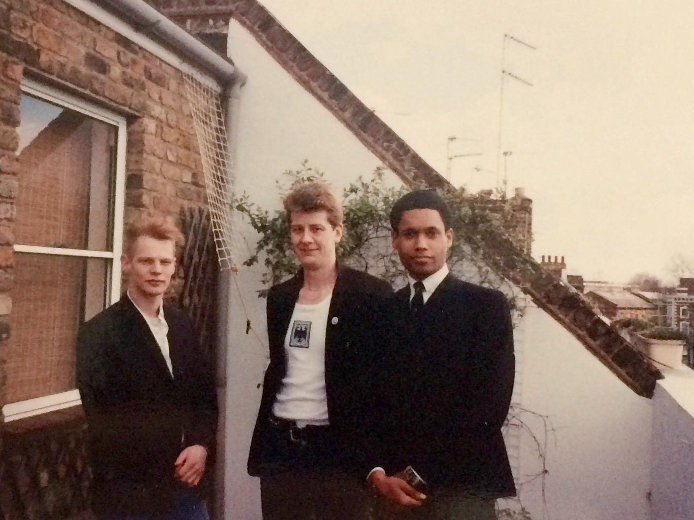 A couple dudes who auditioned with David (right) on his balcony in Primrose Hill