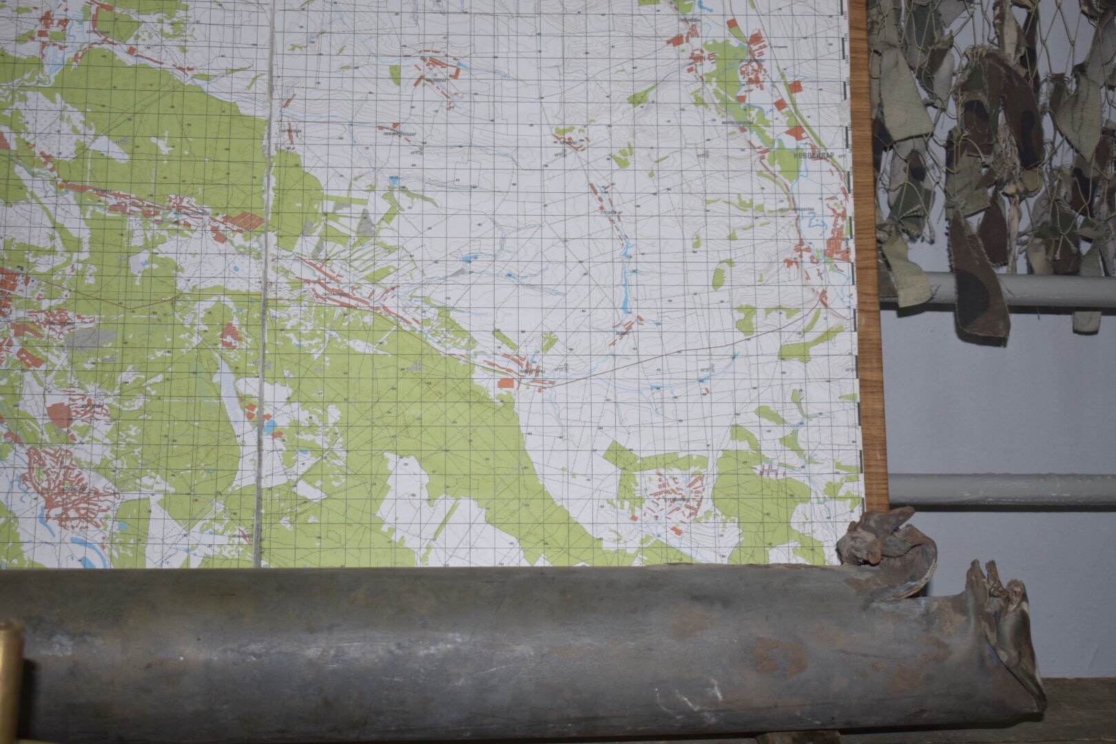 Shrapnel from the Russia-Ukraine conflict and Map, Lysychansk Regional Museum