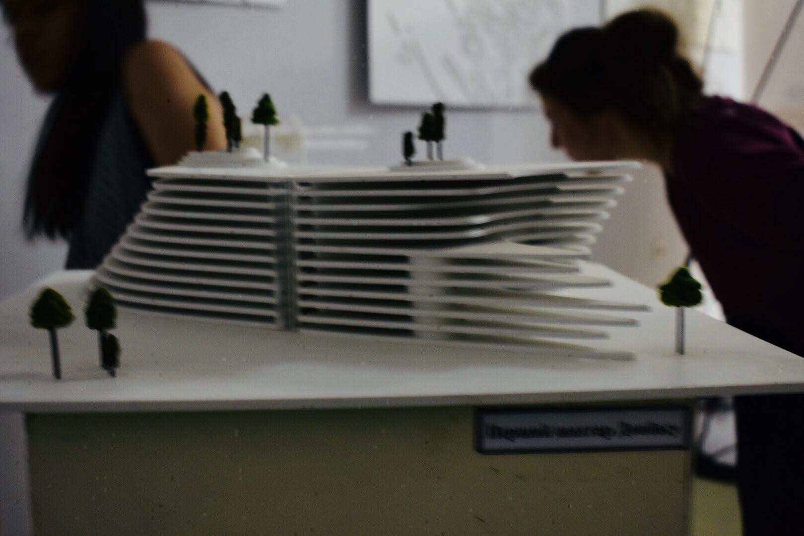 Contemporary art installation re-imagining local architecture, by artist Sasha Dolgiy, Lysychansk Regional Museum