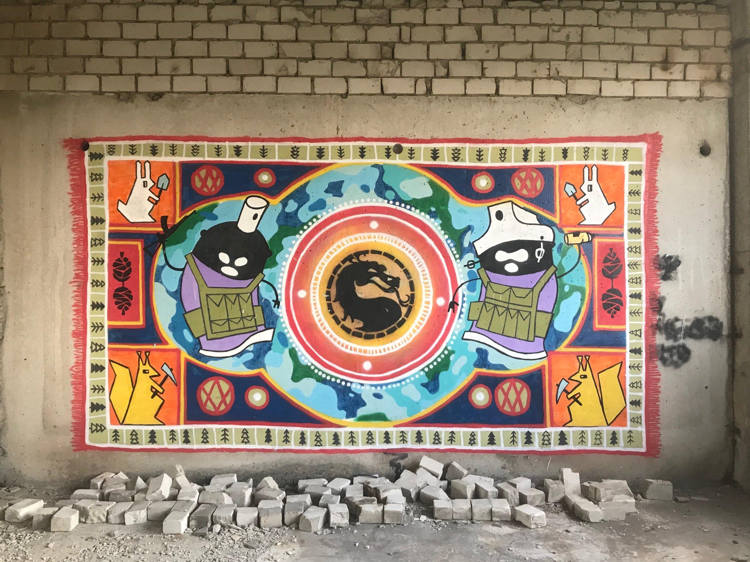 Graffiti mural by local art group LKD: Luhansk Contemporary Diaspora, Severodonetsk