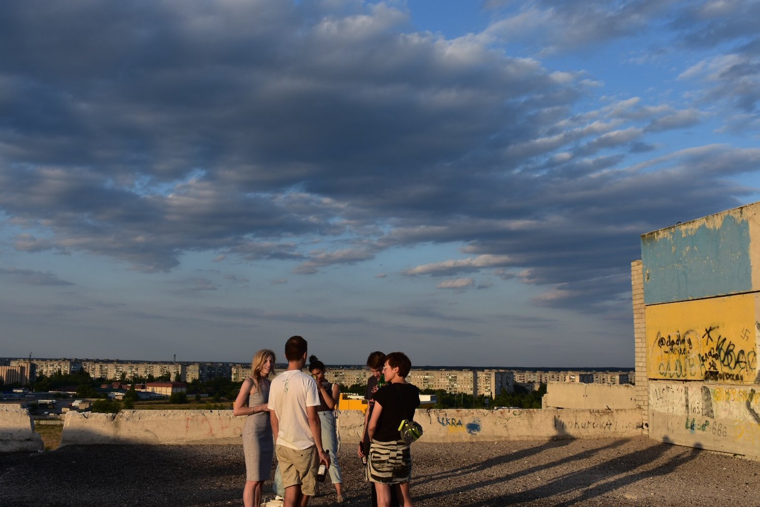 Rooftop gathering of Donbas Studies Summer School participants on the Audiotour of Severodonetsk by Anton Lapov