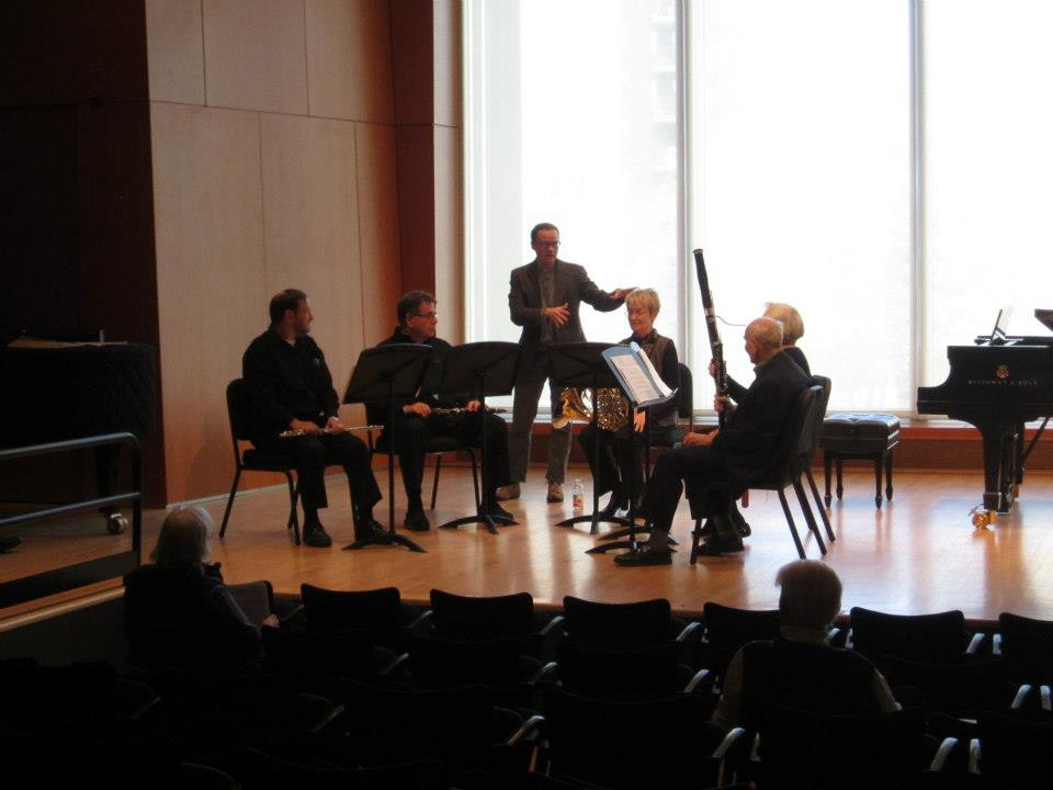 Coaching an amateur wind quintet at the MacPhail Music Center in Minneapolis, MN while on tour with the City of Tomorrow.