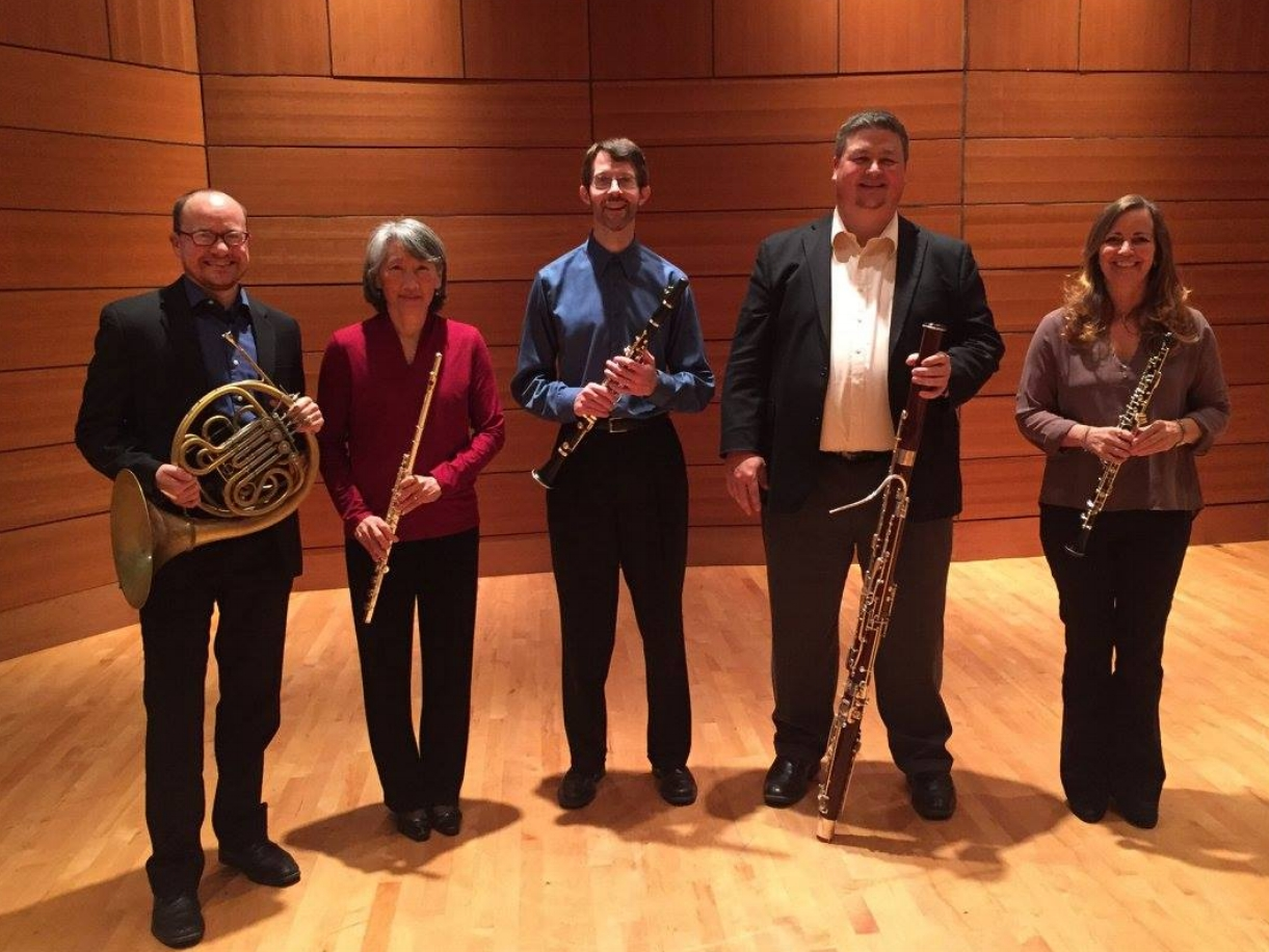 The University of Mississippi Faculty Wind Quintet at a concert in Oxford, MS.