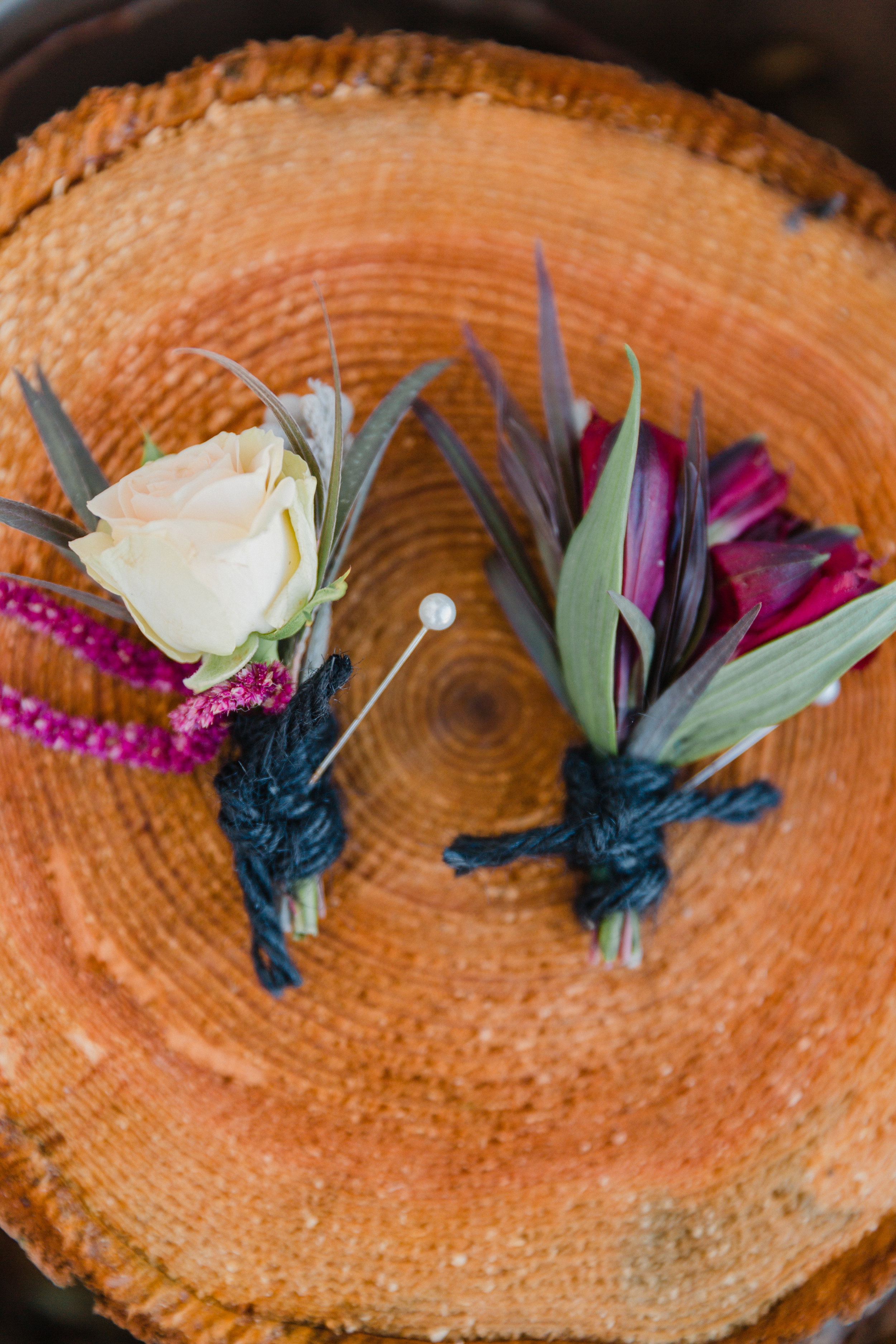 Fall Bohemian Boutonnieres with yarn. From the Ground Up Floral-Seattle Florist
