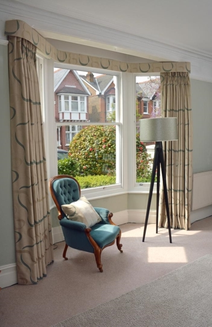 Full-length curtains with matching pelmet