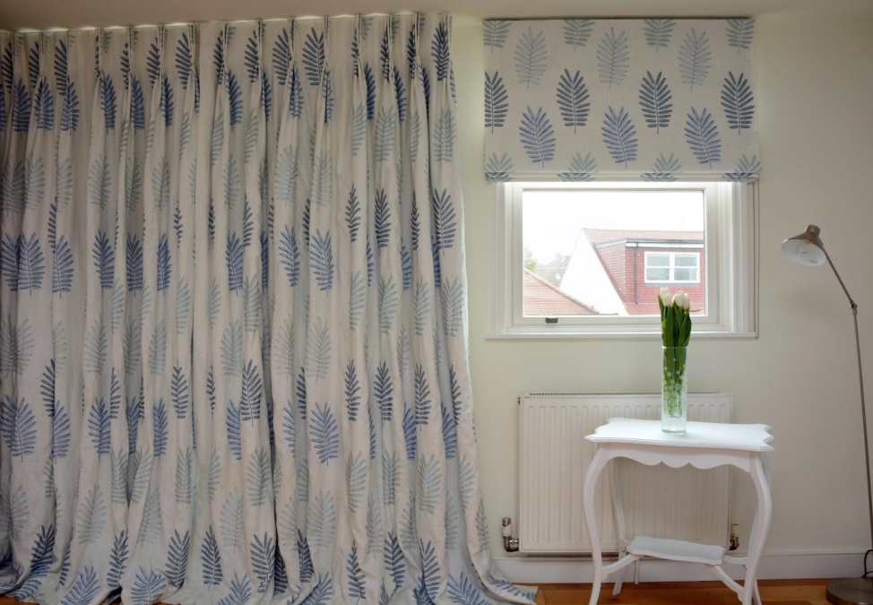 Multi-coloured blackout curtains and blind