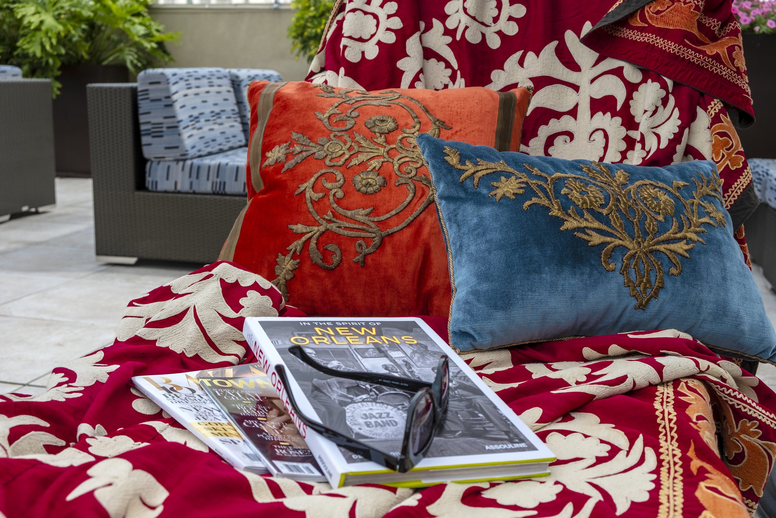 Locally-Sourced Styling Items Including Antique Textile Pillows & Fabrics by Rebecca Vizard