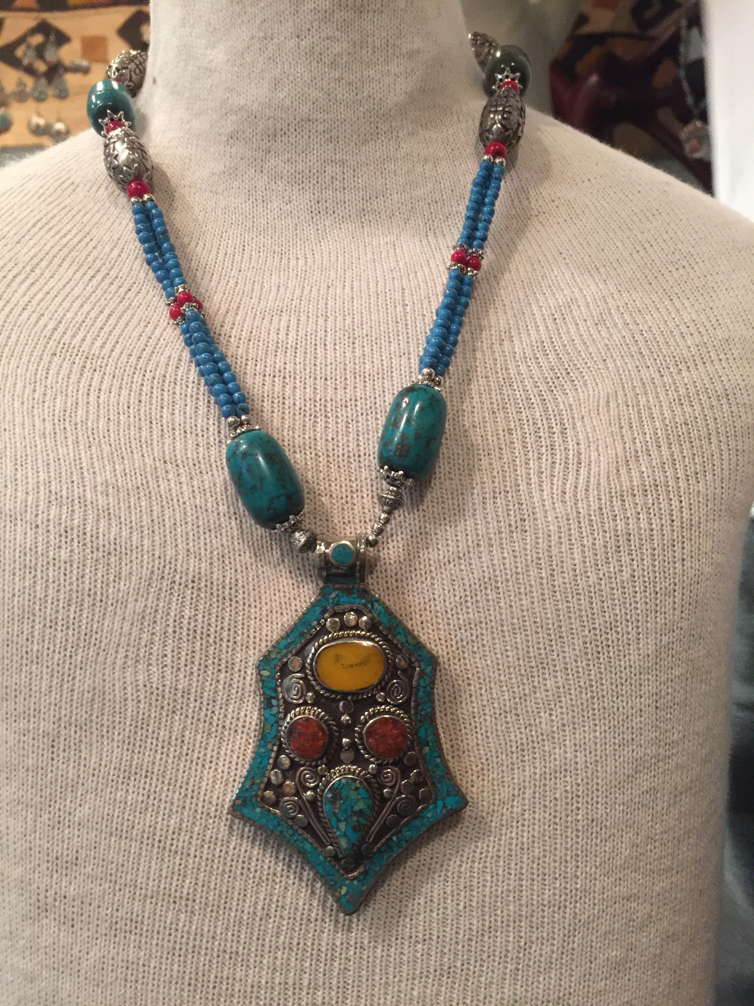 Another light, but full of color, Handmade Moroccan necklace  (buy on etsy, $70)
