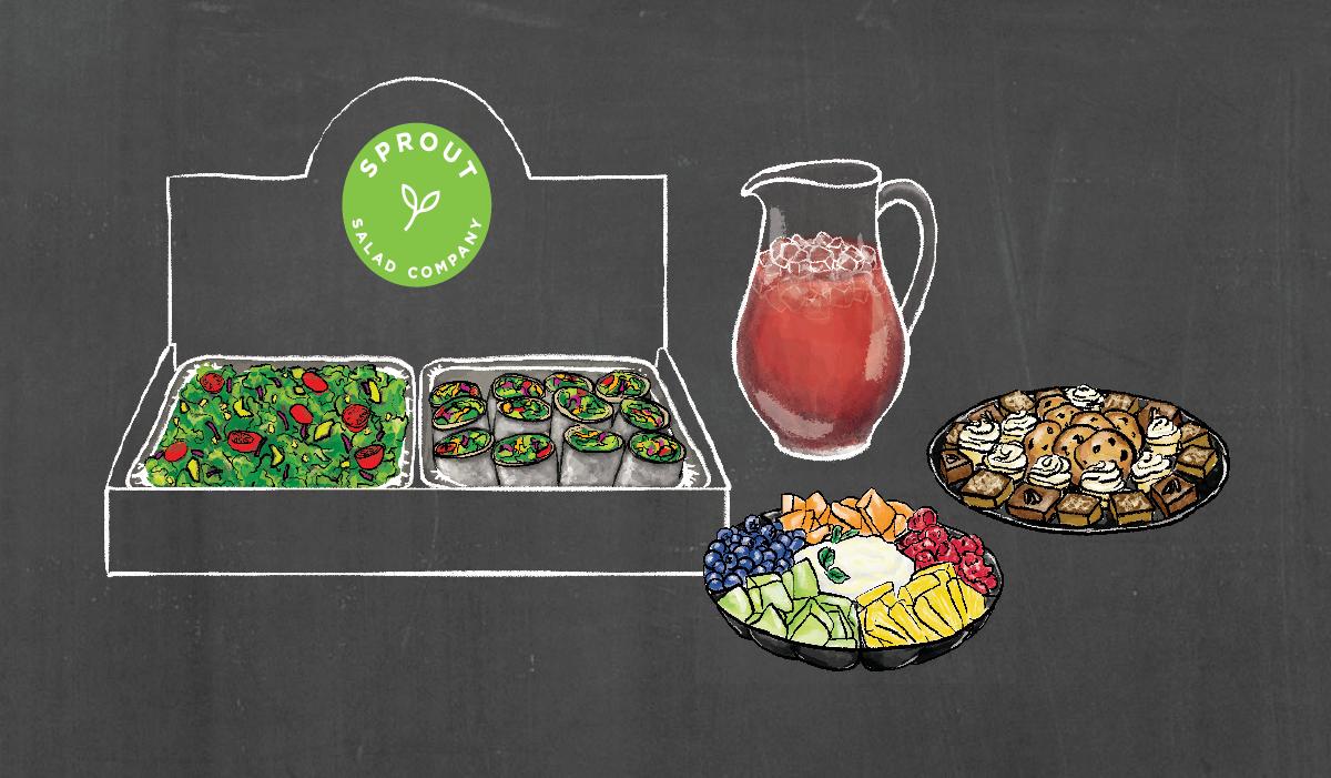 Ensalada Mexicana (salad) + Argentine Steakhouse (half wraps) • seasonal fruit tray w/ in-house honey mint yogurt •  blueberry basil lemonade • assorted sweets tray