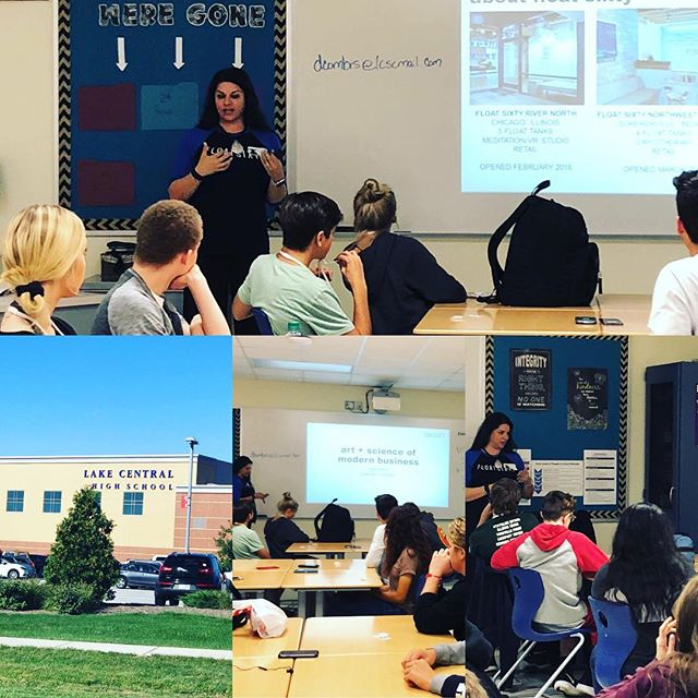Very cool day for @gloriamo10 as she shared her #floatsixty journey with @lakecentralschool #enterpreneurship students! #wearelc #lakecentralhighschool #saintjohnindiana #float60