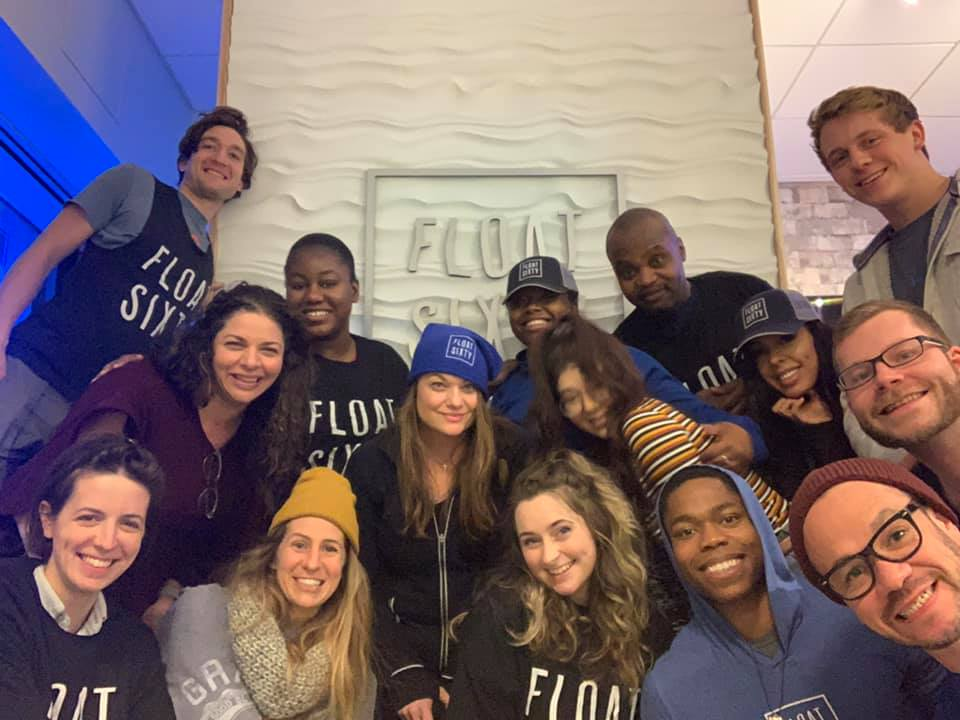 Float Sixty River North & South Loop Team (from top to bottom, left to right)  Tony, Gloria, Maria, Brittany, Rochelle, Monica, Terri, Klaudia, Ashley, Ernest, Lina, Emerson, Luke (photo bomb from Indiana), Little Sean and Adult Shaun. Not pictured, Carly.