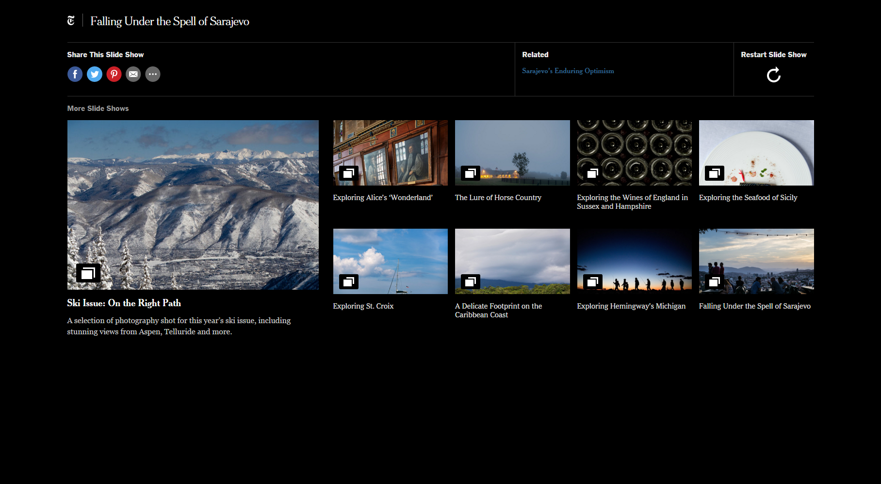 The end of slideshow experience, linking to a related article as well as other slideshows from that section