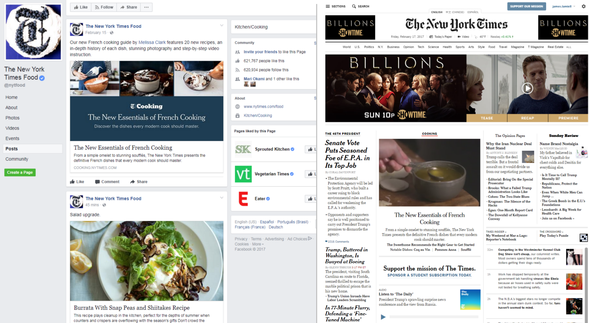 Promotion for The New Essentials of French Cooking spanned the entire NYT ecosystem, from our social accounts to the homepage of our news site.