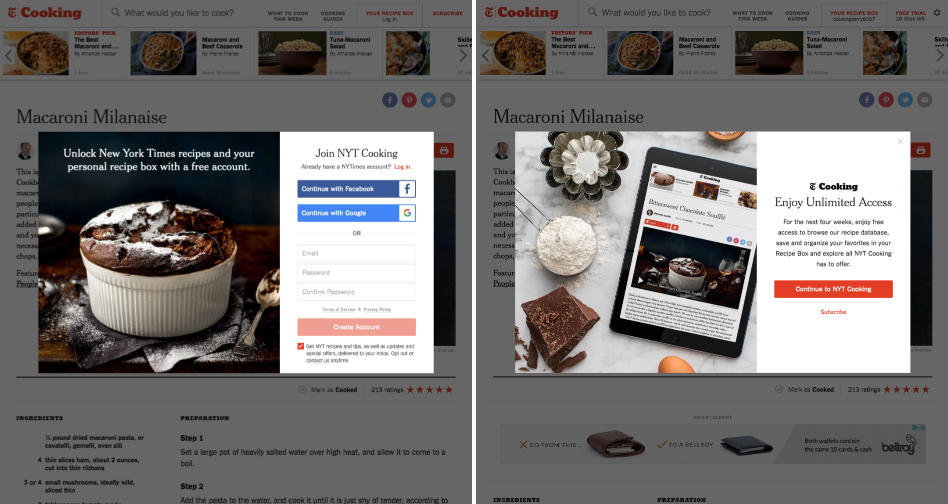 New users to NYT Cooking are asked to create an account to access the product, and are automatically enrolled in a 28-day free trial.