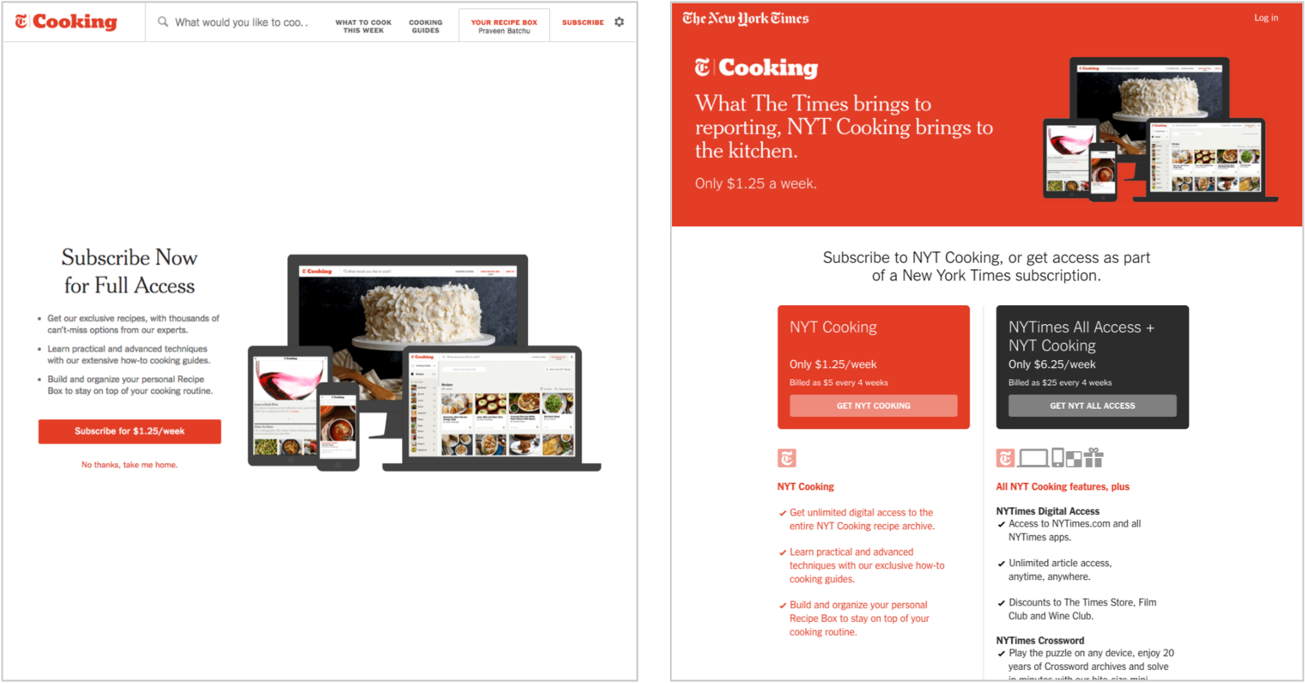 After a free trial, users are presented with a paywall if they try to access a non-featured recipe or a premium feature.