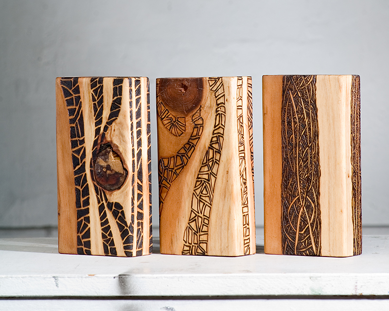 Middle Way (2015)  Wood Burning on Red Wood 7 in x 1½ in x 3½ in (Triptych)  SOLD
