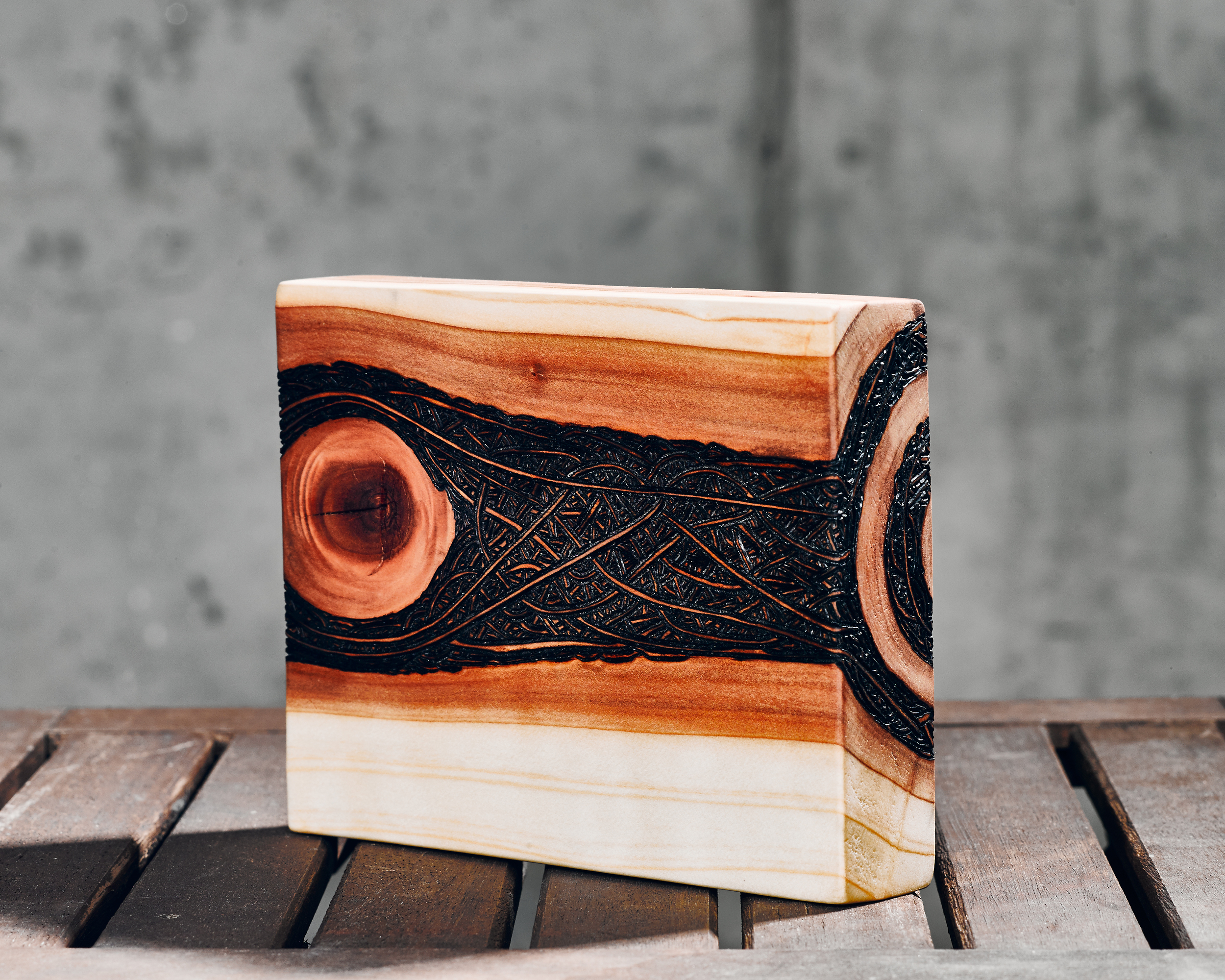 Interconnections  (2015)  Wood Burning on Red Wood 7 in x 1 ½ in x 6 in  SOLD