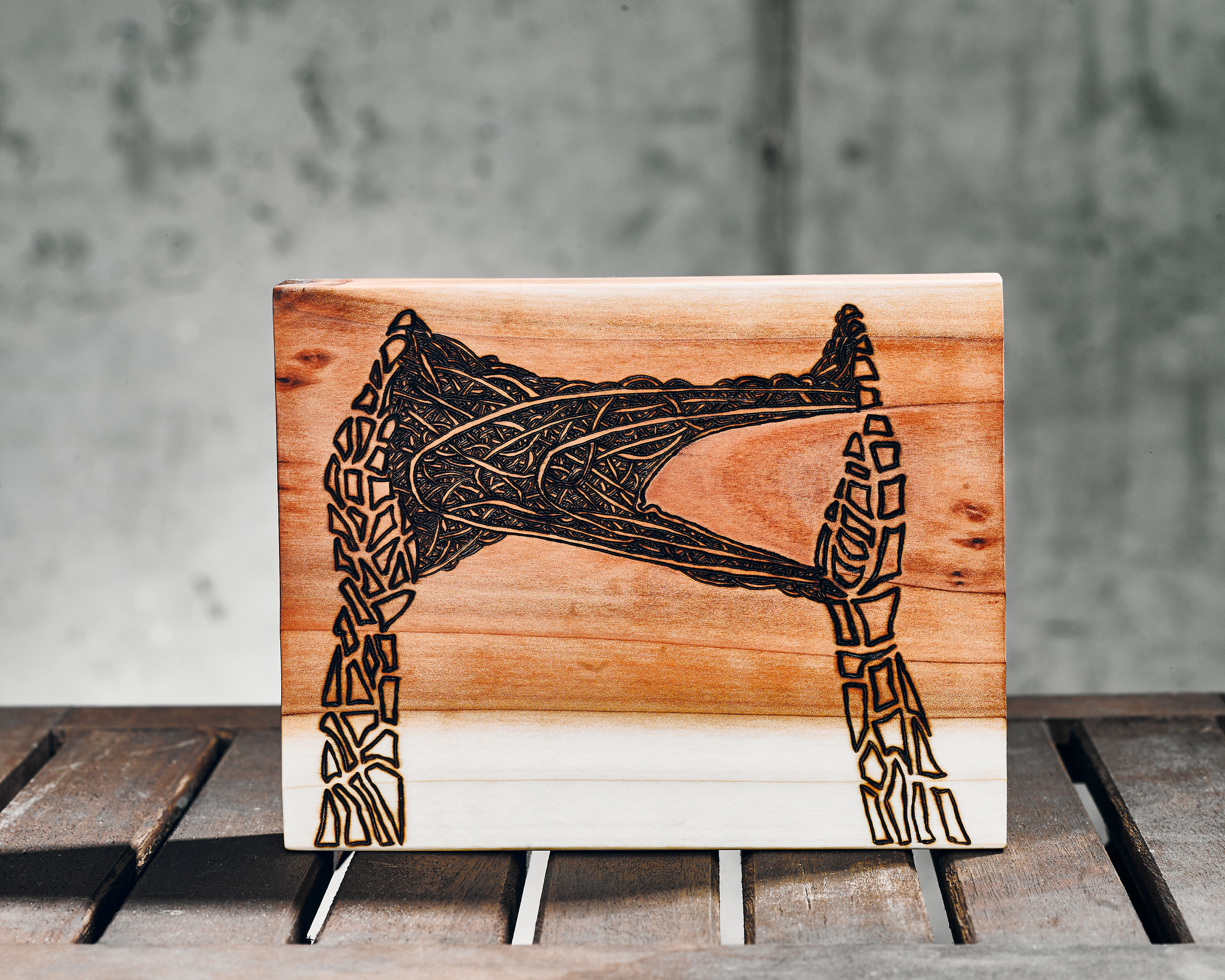 Compassion (2015)  Wood Burning on Red Wood 7 in x 1 ½ in x 6 in  SOLD