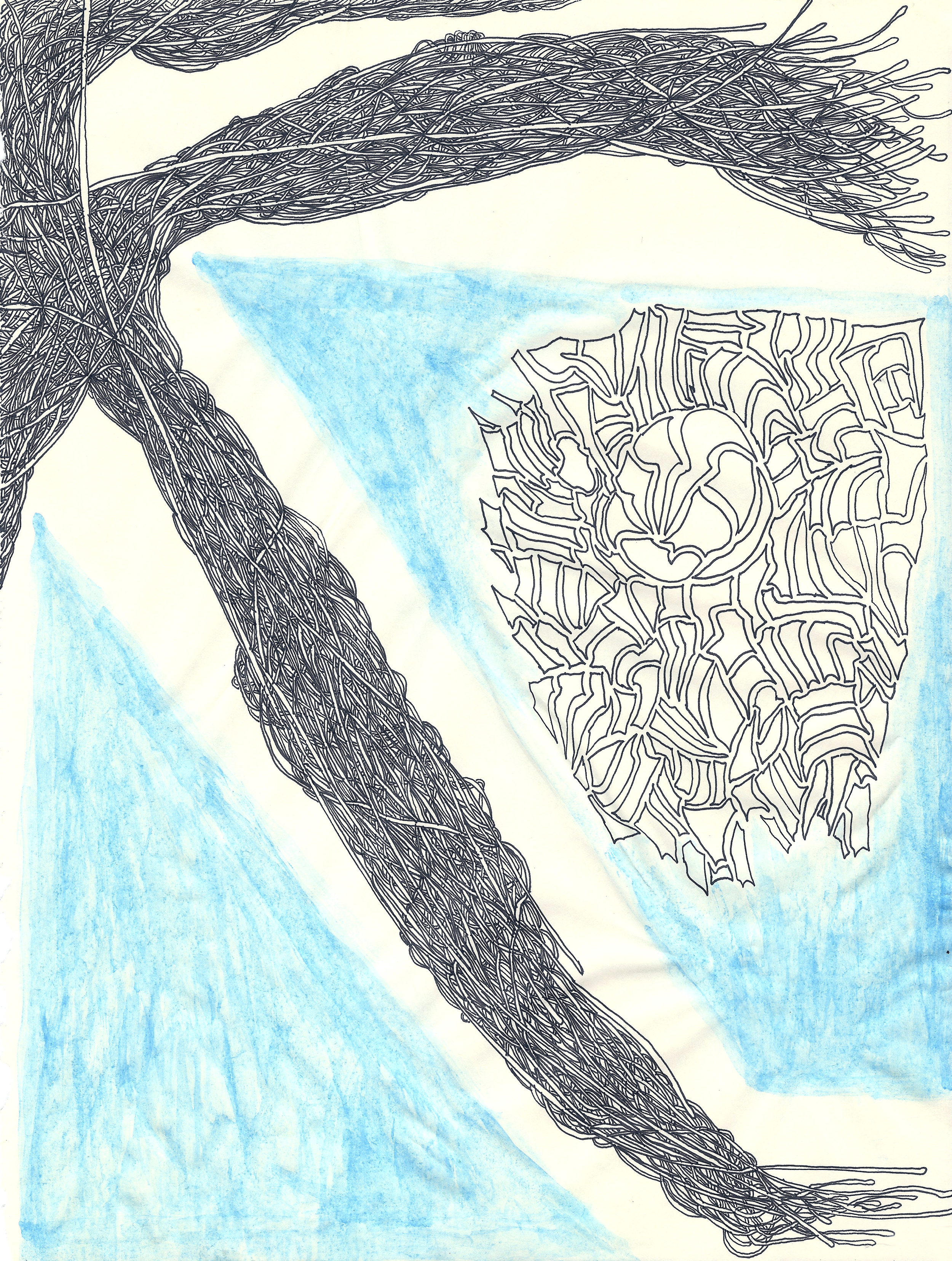Blue  (2014)  Acid Free Pen and Paper 5 in x 7 in 8 in x 10 in