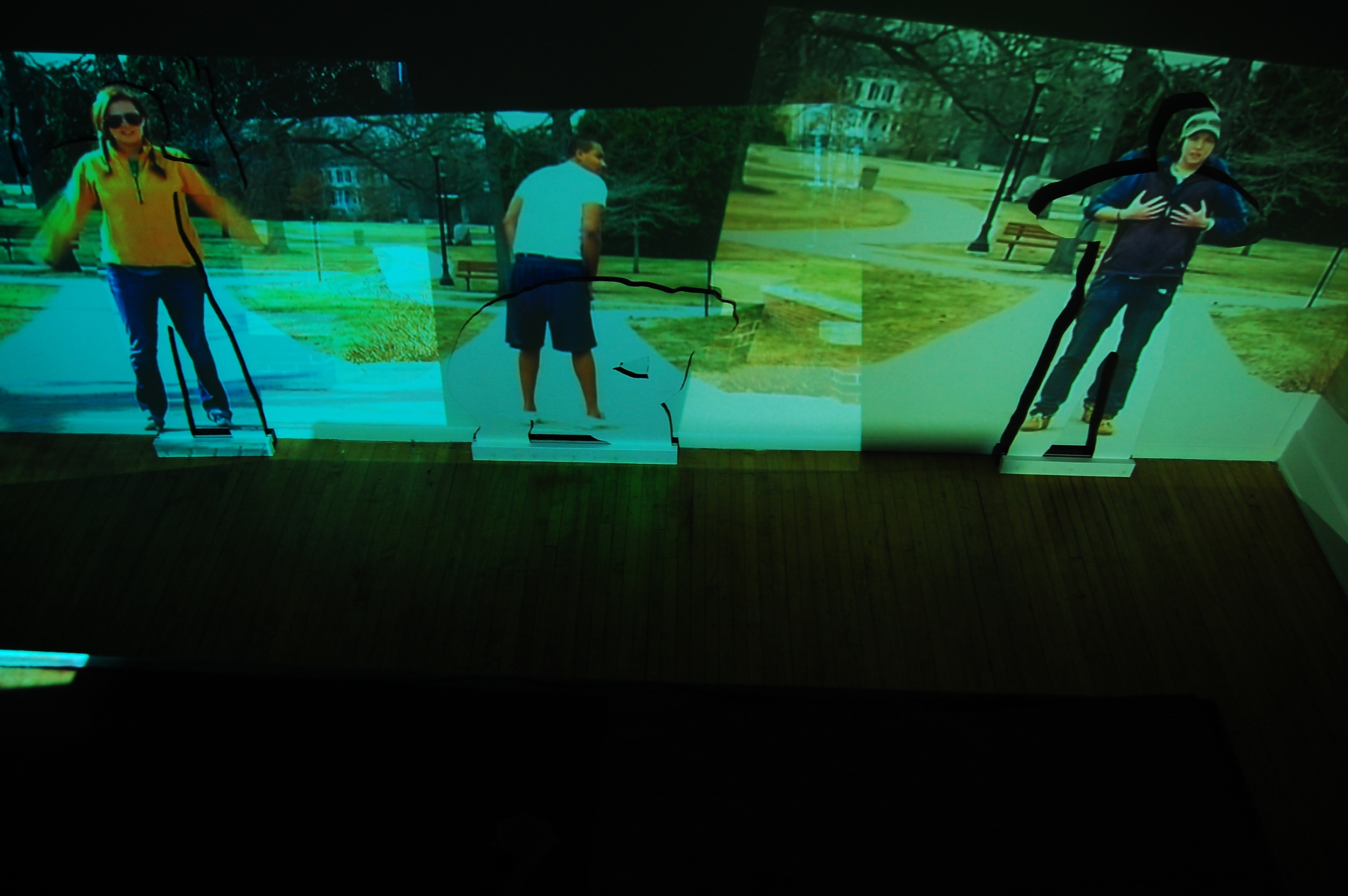 Performance Of Self ( 2015)  Three Channel Video Installation Wood Cut Outs Painted White With Black Background  VIDEO