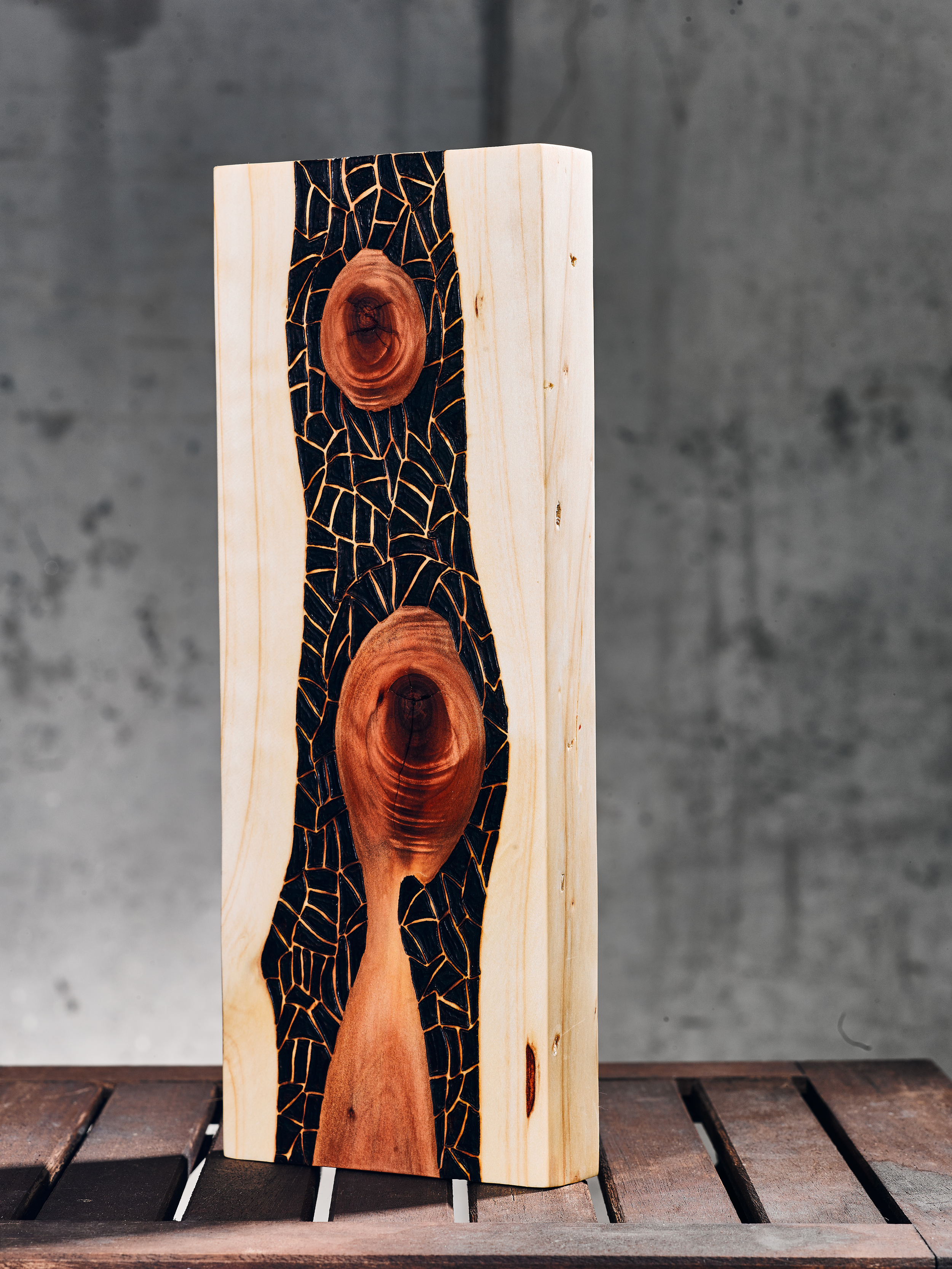 Growing (2015)   Wood Burning on Red Wood   5 ½ in x 1 ½ in x 14 in   $170.00    For Inquiry Email bzartsgallery@gmail.com